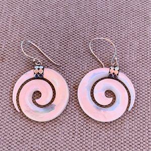 Vintage white spiral shell earrings